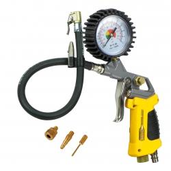Pistolet do pompowania  STANLEY z manometrem + 3 końcówki + lampka LED